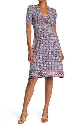 Max Studio Geometric Puff Sleeve Dress