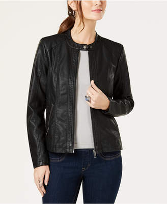 Style&Co. Style & Co Perforated Garment-Dyed Faux-Leather Jacket