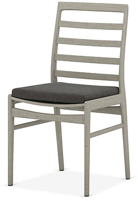 One Kings Lane Linnet Outdoor Dining Chair - Gray/Charcoal - frame, weathered gray; upholstery, charcoal
