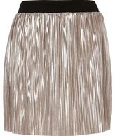 River Island Womens Metallic light pink pleated mini skirt