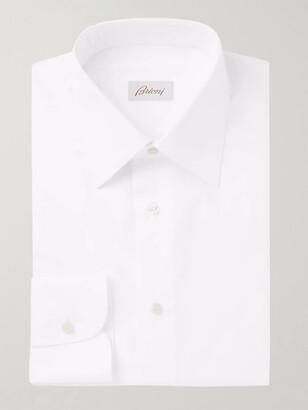 Brioni White Slim-Fit Cotton-Poplin Shirt