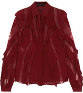 Elie Saab Lace-trimmed Ruffled Silk-blend Crepe De Chine Blouse - Burgundy