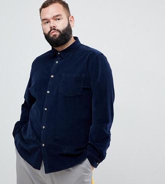 Asos Design DESIGN Plus slim fit stretch cord shirt in navy