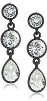 Kenneth Jay Lane Black and Crystal 3 Drop Post Drop Earring