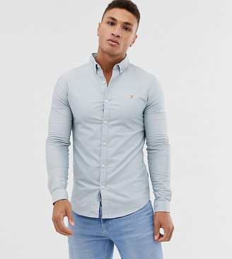 Farah Stretch super slim fit button down oxford shirt in light blue Exclusive at ASOS