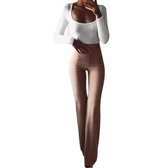 LRWEY Women's Long Wide Leg Flared Palazzo Pants Trousers Ladies Work Formal Smart High Rise Elasticated Pull On Stretch Tailored Flared Pants Khaki