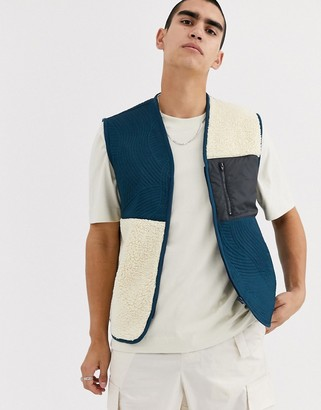 ASOS vest in borg & quilted pattern