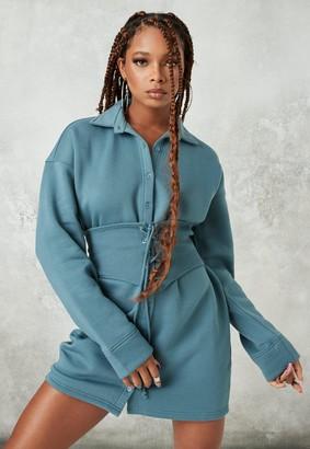 Missguided Blue Corset Waist Fleece Shirt Dress
