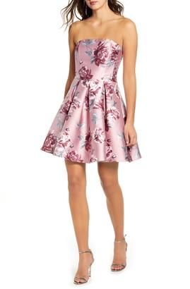 Speechless Floral Print Strapless Fit & Flare Minidress