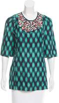 Lela Rose Ikat Print Silk Top