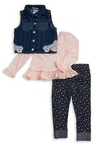 Little Lass Little Girl's Embellished Vest, Ruffled Top, and Floral Leggings Set