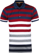 Paul & Shark Cherry Red & Navy Striped Short Sleeve Polo Shirt