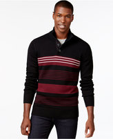 Sean John Striped Button-Neck Sweater, Only at Macy's