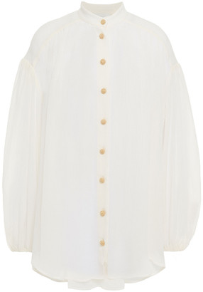 Zimmermann Freja Crinkle Cotton And Silk-blend Georgette Blouse