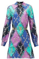 Gucci GG Diamond-print Silk-twill Mini Dress - Womens - Purple Multi