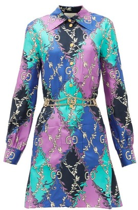 Gucci GG Diamond-print Silk-twill Mini Dress - Purple Multi
