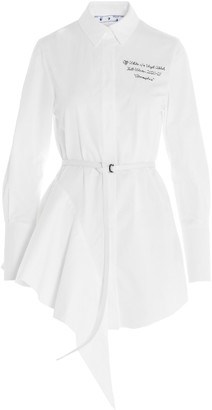 Off-White Asymmetric Hem Shirt Dress
