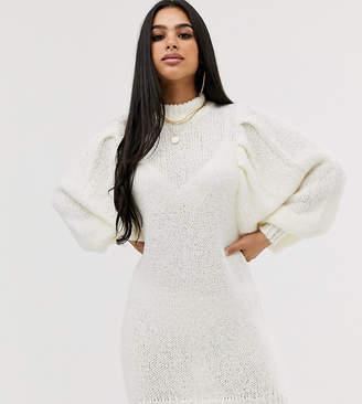 Asos DESIGN Petite mini jumper dress in lofty yarn with volume sleeve-Cream