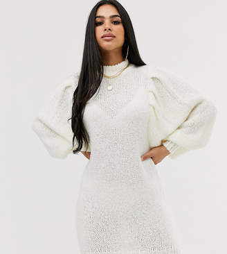 Asos DESIGN Petite mini jumper dress in lofty yarn with volume sleeve