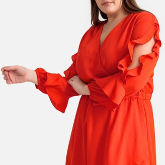 Castaluna Plus Size Flared Ruffled Wrapover Dress