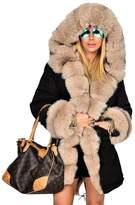 Roiii Women Hooded Parka Faux Fur Winter Warm Ladies Casual Long Jacket Coat Top