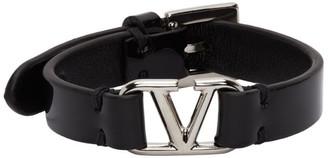 Valentino Black Garavani Patent VLogo Bracelet