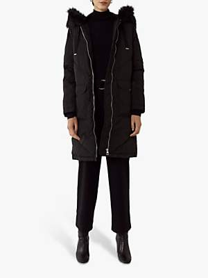 Warehouse Chevron Padded Coat, Black