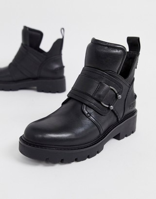 UGG Mitcham Flat Ankle Boots with Piercing in Black