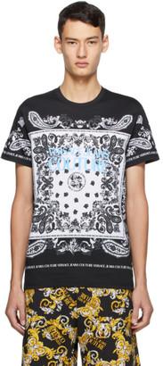Versace Black and White Paisley Loop T-Shirt