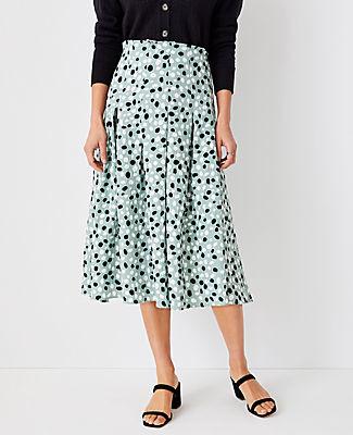 Ann Taylor Animal Dot Paperbag Midi Skirt