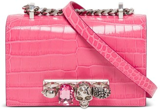 Alexander McQueen Mini Jeweled Satchel Shoulder Bag In Crocodile Print Leather