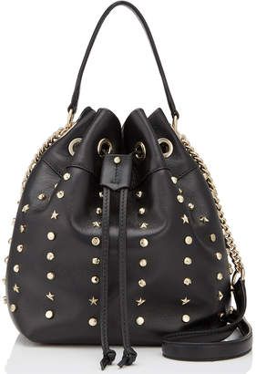 Jimmy Choo JUNO/S Black Nappa Leather Drawstring Bag with Star and Round Studs