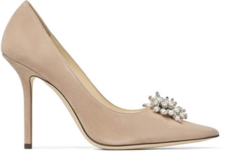 Jimmy Choo EDISON 100 Ballet-Pink Suede Pumps with Pearl Embroidery