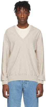 Maison Margiela Beige and Off-White Spliced V-Neck Sweater
