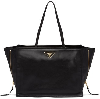 Prada Double Handle Calf Leather Tote