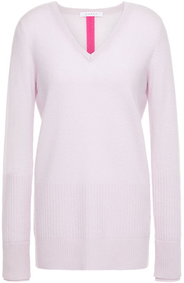 Duffy Split-back Waffle Knit-paneled Cashmere Sweater