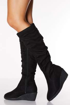 Quiz Black Faux Suede Ruched Knee High Boots