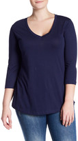 Susina 3/4 Length Sleeve V-Neck Knit Tee (Plus Size)