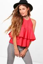 boohoo Avery Tiered Woven Cami red