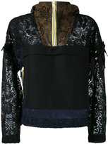 No.21 panelled lace hoodie - women - Cotton/Polyamide/Polyester - 36