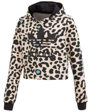adidas Big Girls Leopard-Print Cropped Hoodie