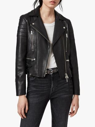 AllSaints Halley Leather Biker Jacket, Black