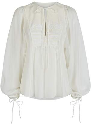 Talika Beulah London Off White Embroidered Blouse