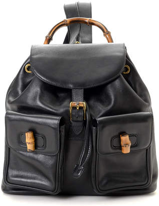 Gucci Black Bamboo Leather Backpack - Vintage