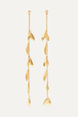 Oscar de la Renta Dot Leaf Gold-tone Earrings - one size
