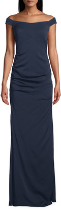 Nicole Miller Stretch Crepe Off-the-Shoulder Column Gown