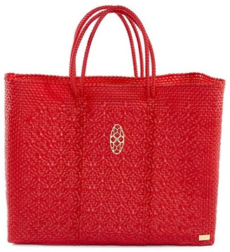 Lolas Bag Red Book Tote Bag With Clutch