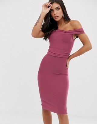 The Girlcode bandage bodycon dress with frill off shoulder in plum-Purple