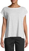Eileen Fisher Short-Sleeve Thin-Striped Linen Jersey Top, Plus Size