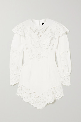 Isabel Marant Ellery Asymmetric Linen And Guipure Lace Mini Dress - White